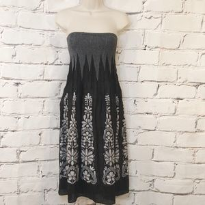 Anthropologie LAPIS black silver dress one size